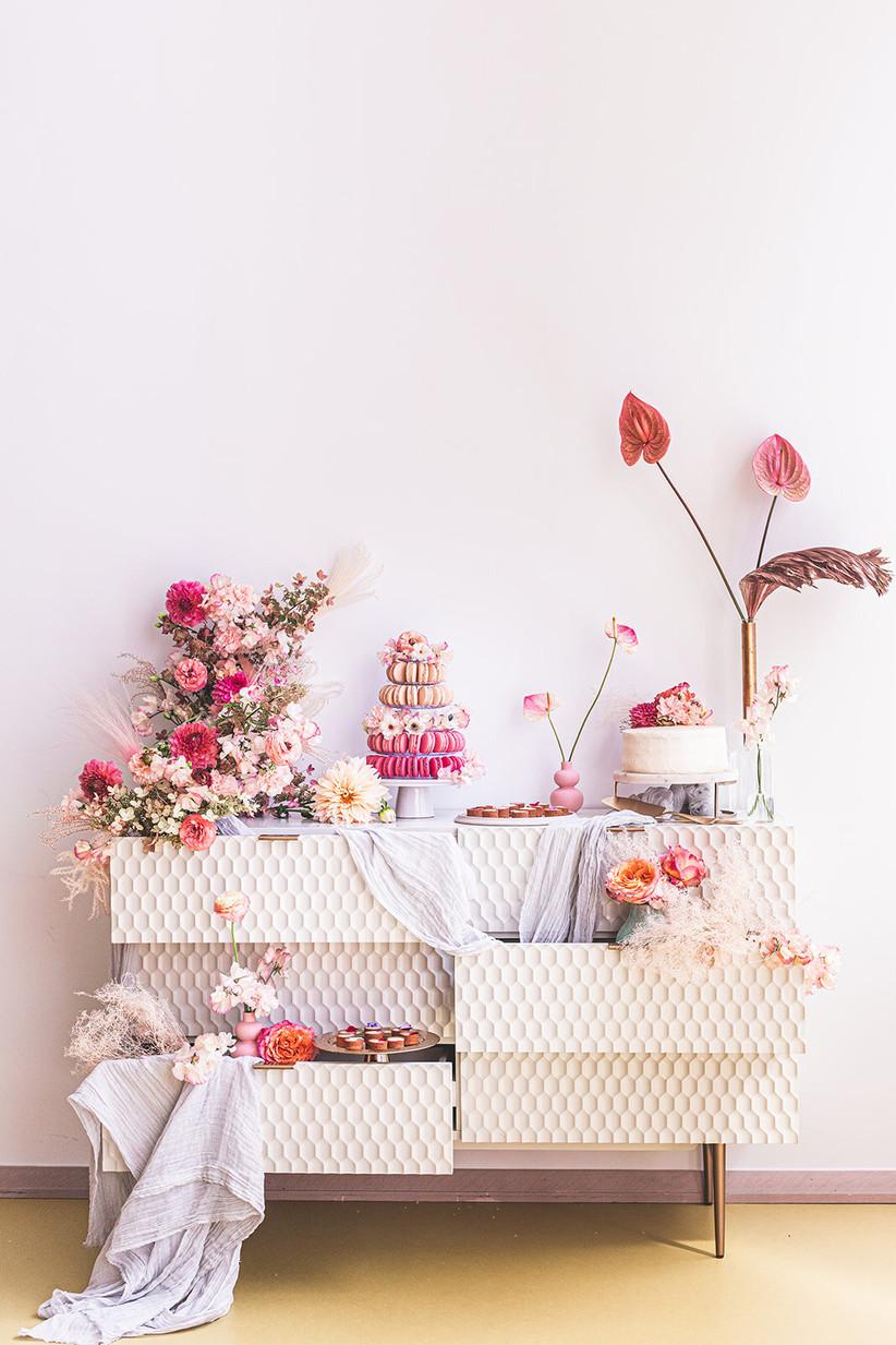 2021 wedding cake trend elaborate dessert table