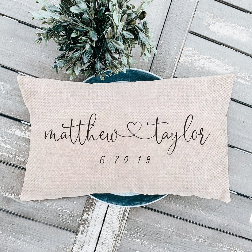 Rectangular throw pillow with couple's names and wedding date