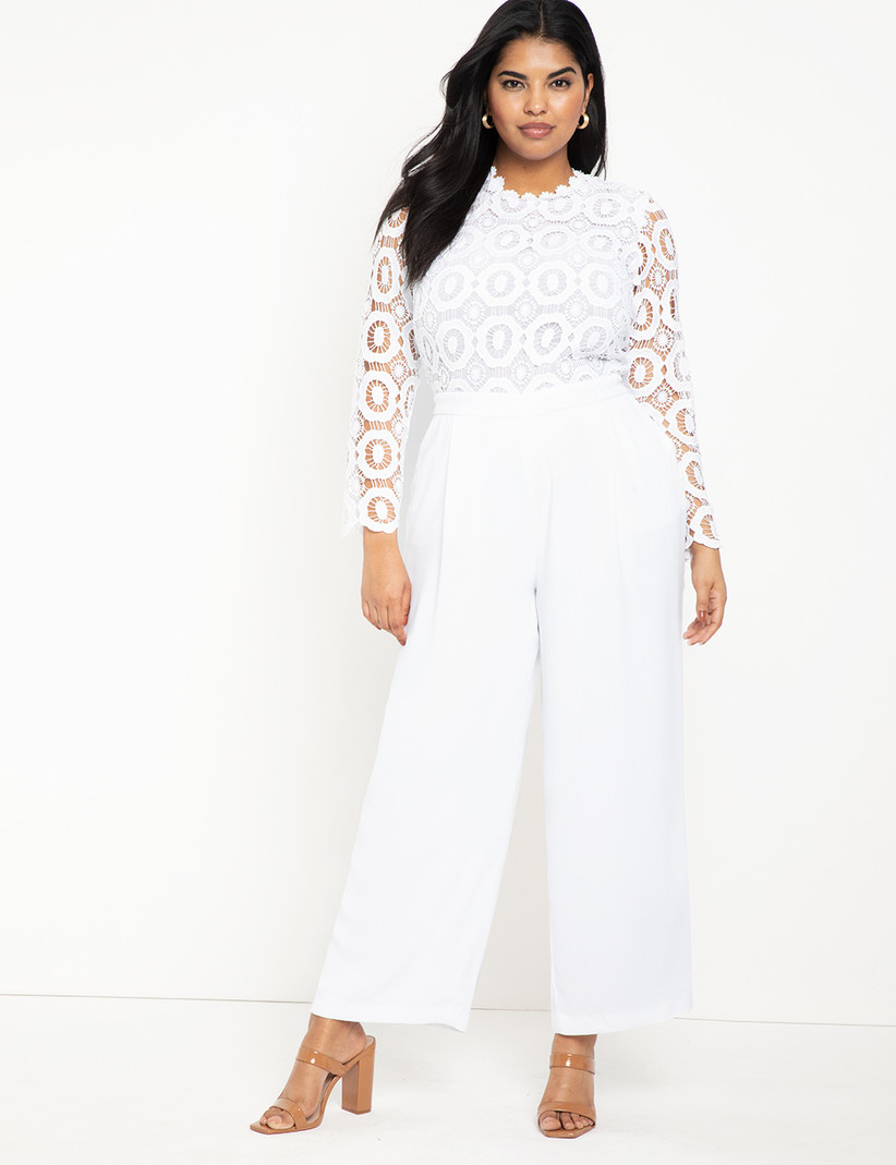 White rehearsal dinner jumpsuit with wide leg