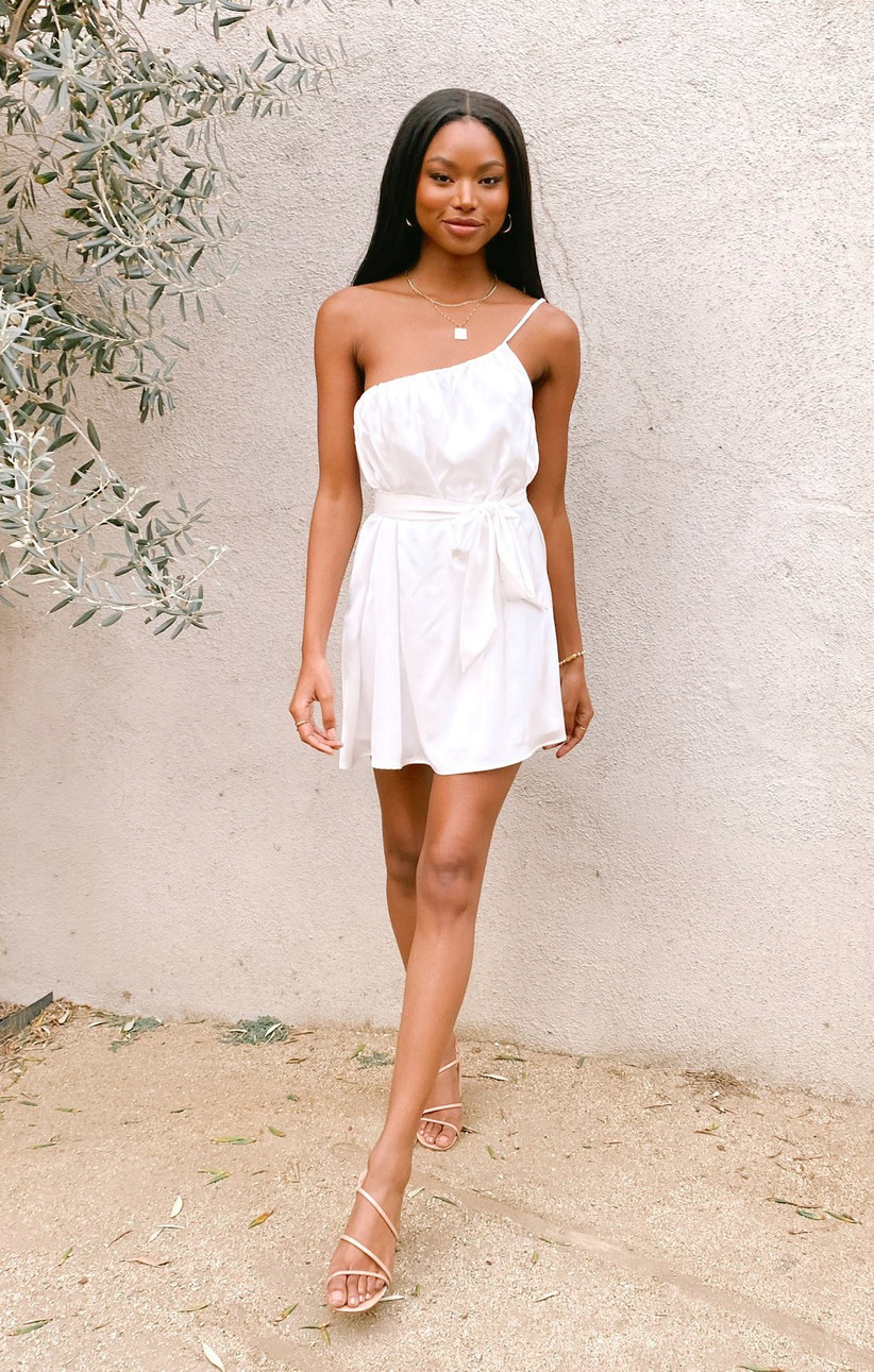 one-shoulder bachelorette party dress white mini dress with thin strap and adjustable bow sash at waist