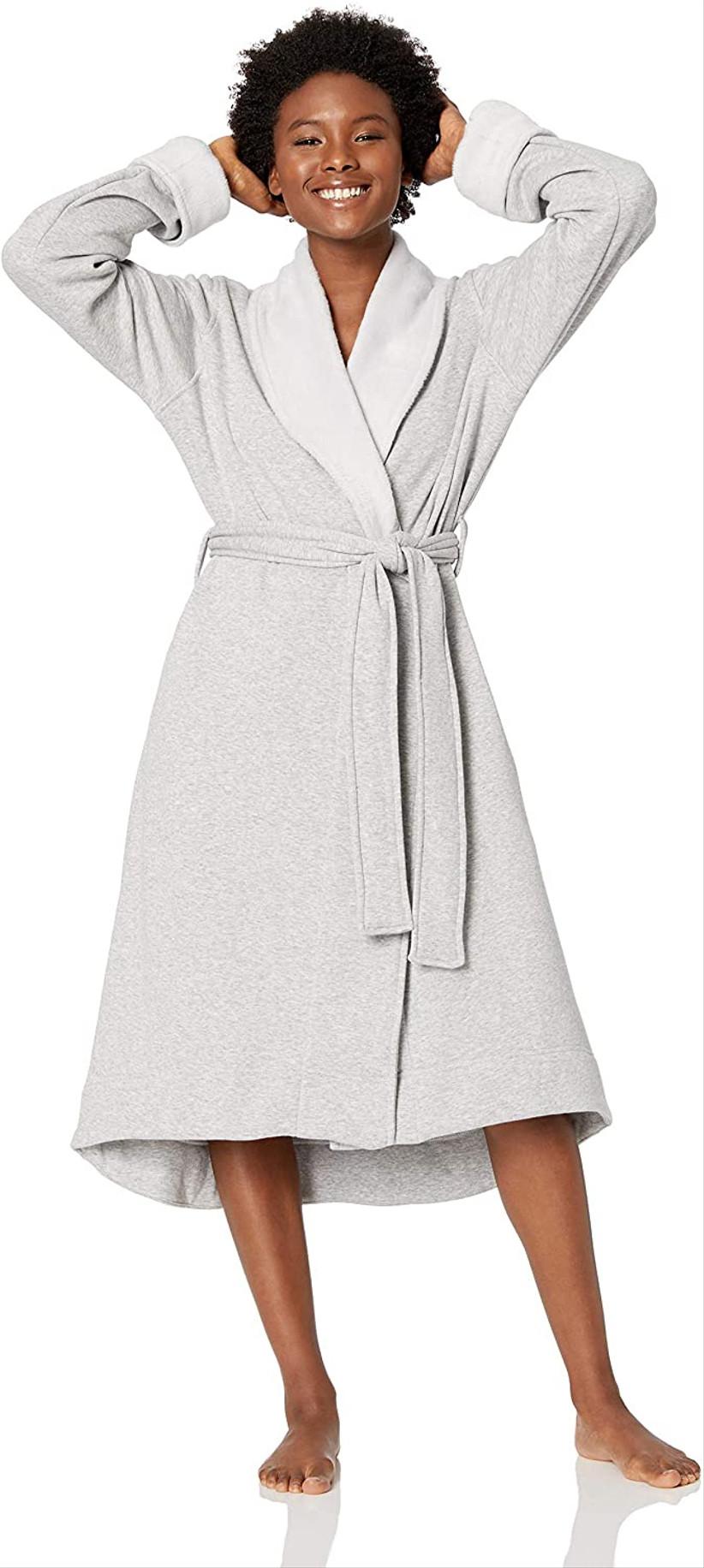 woman wearing gray robe
