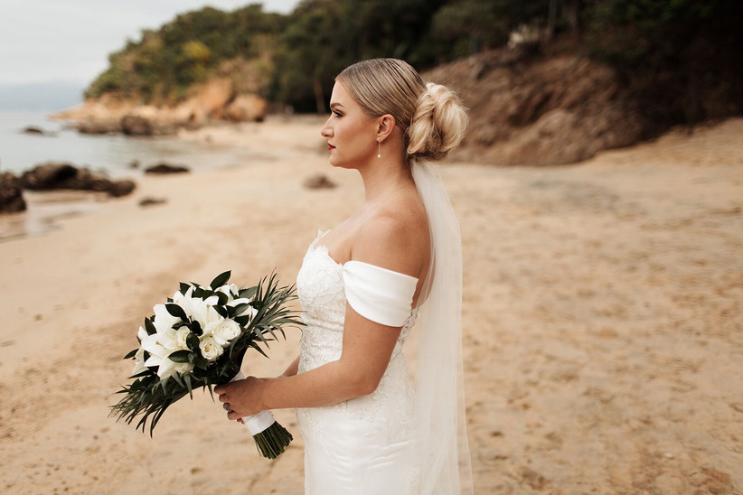 blonde bride with oversized low bun