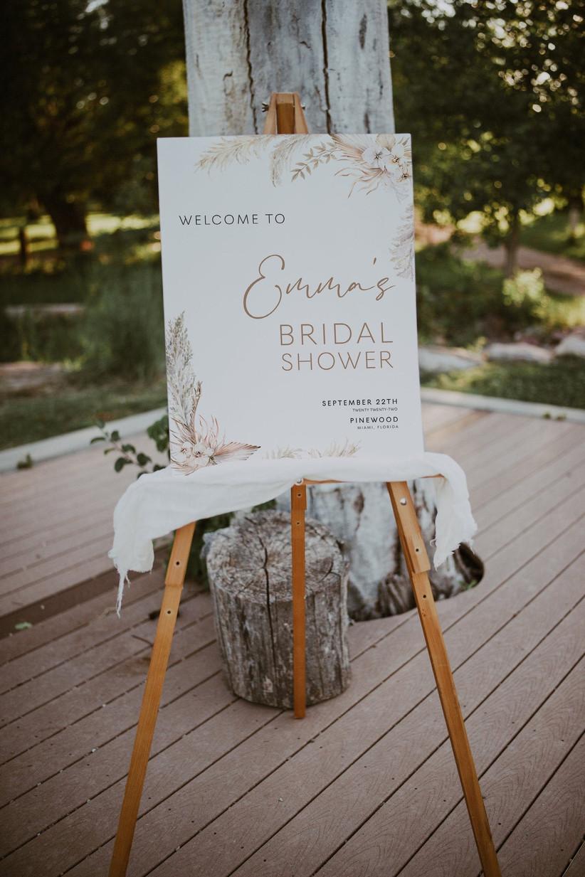 pampas grass bridal shower sign