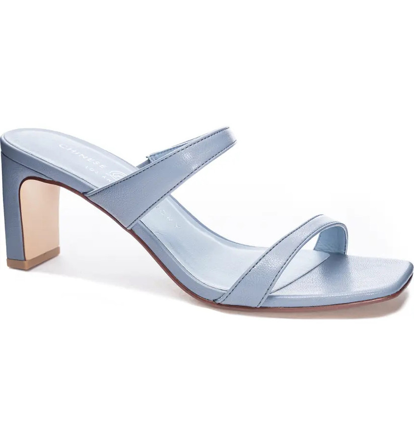 minimalist blue wedding shoe heeled sandal