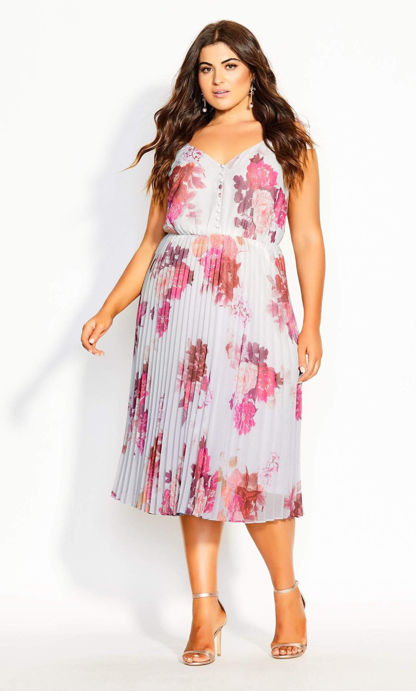 floral print engagement party dress with pleated skirt and fuchsia floral print