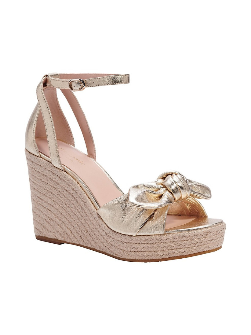 gold wedge sandal with bow and ankle strap