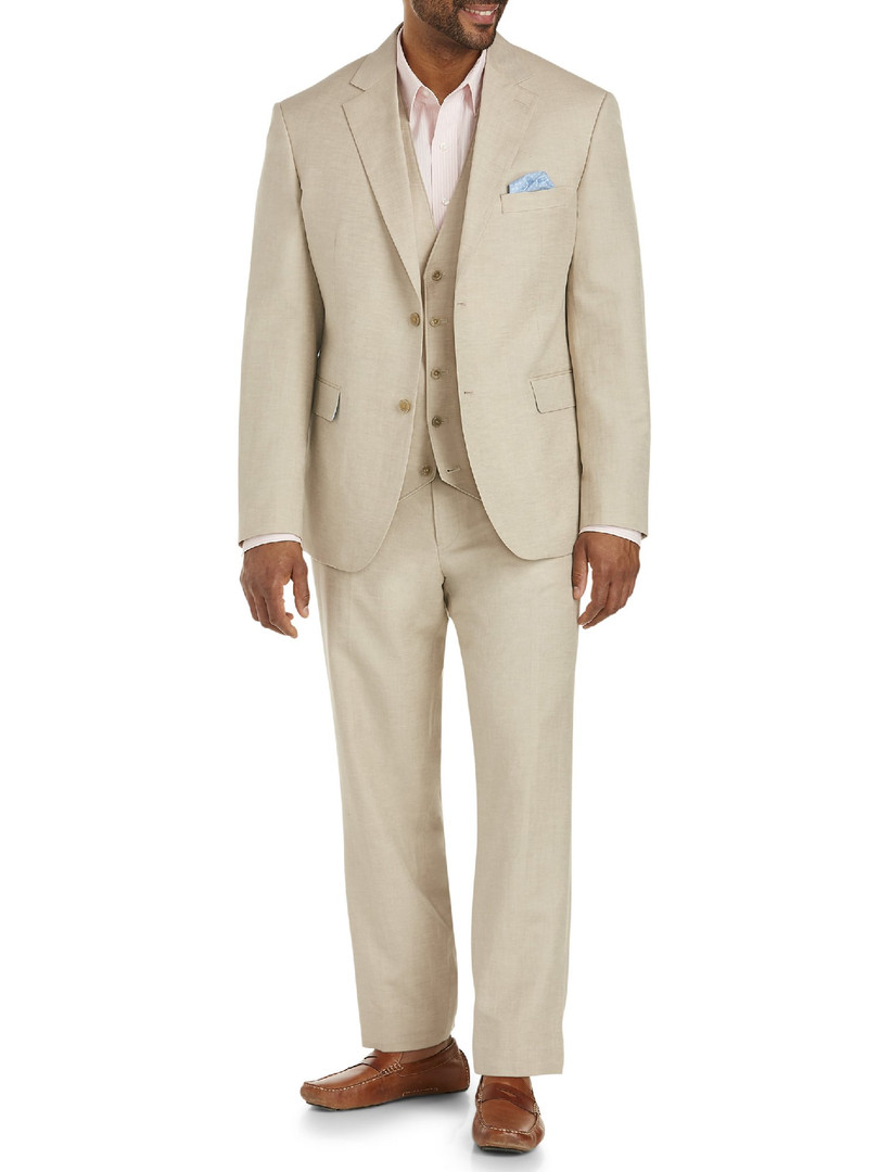 Linen lightweight beige plus-size summer wedding suit