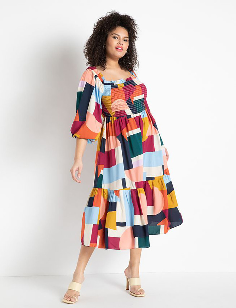 Colorful plus size long-sleeve midi dress