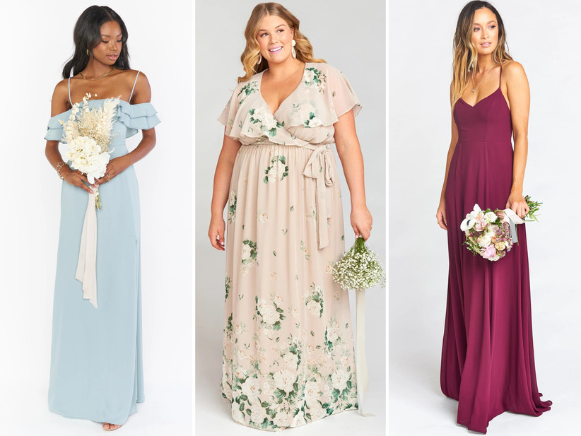 Collage of bridesmaid dresses left to right: light blue off-the-shoulder maxi, blush pink and floral ruffle-sleeve maxi, spaghetti strap merlot maxi dress