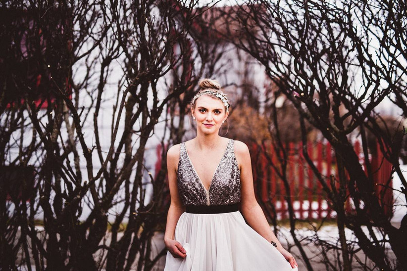 wedding dress with sequin bodice