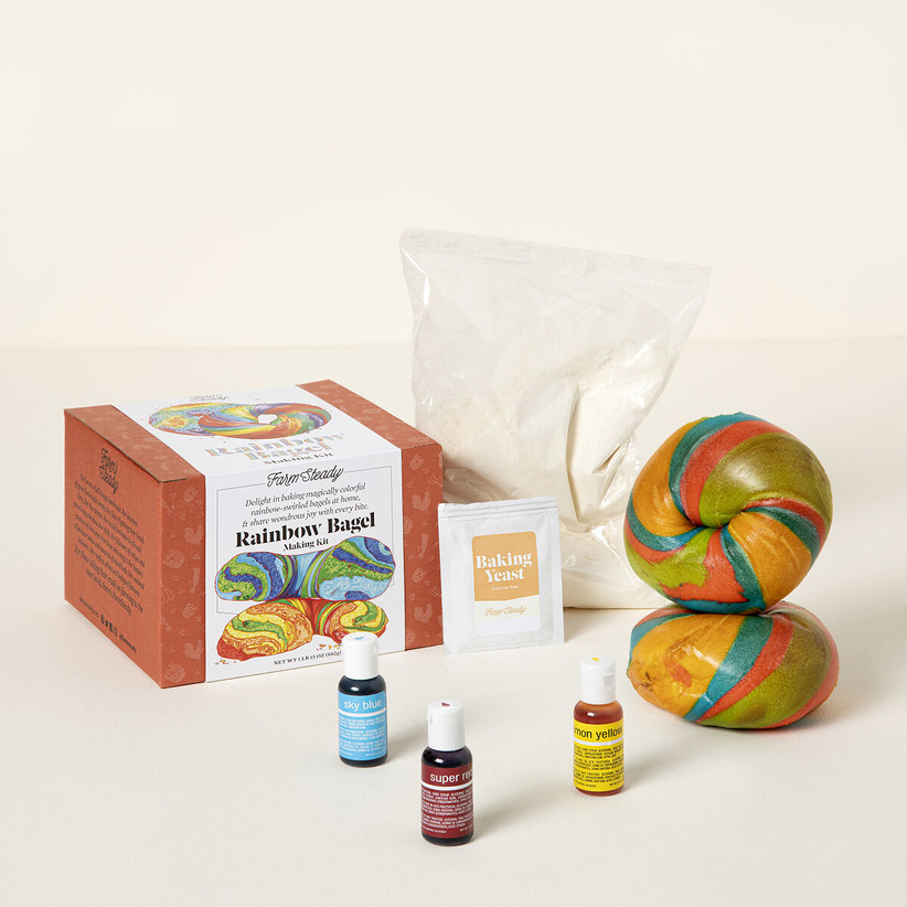 DIY rainbow bagel kit bridesmaid gift idea