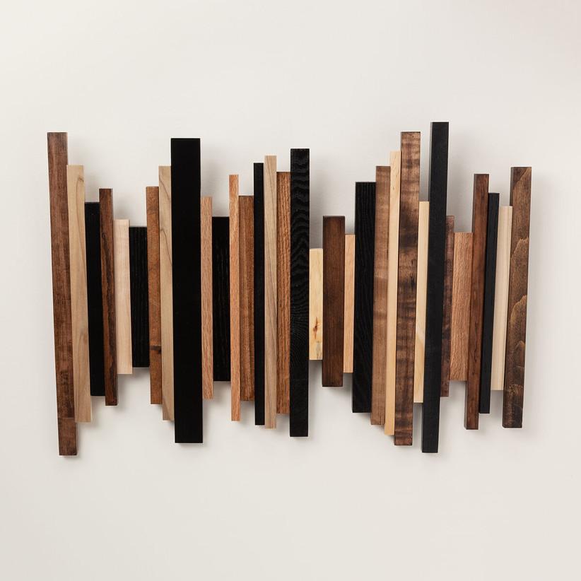Wooden sound wave wall art