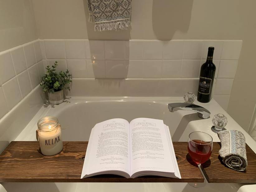 Wooden bath tray housewarming gift for couples