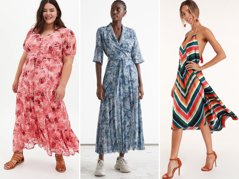 Collage of three summer wedding guest dress ideas