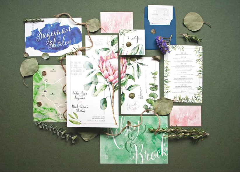 Wedding invitation suite with floral design