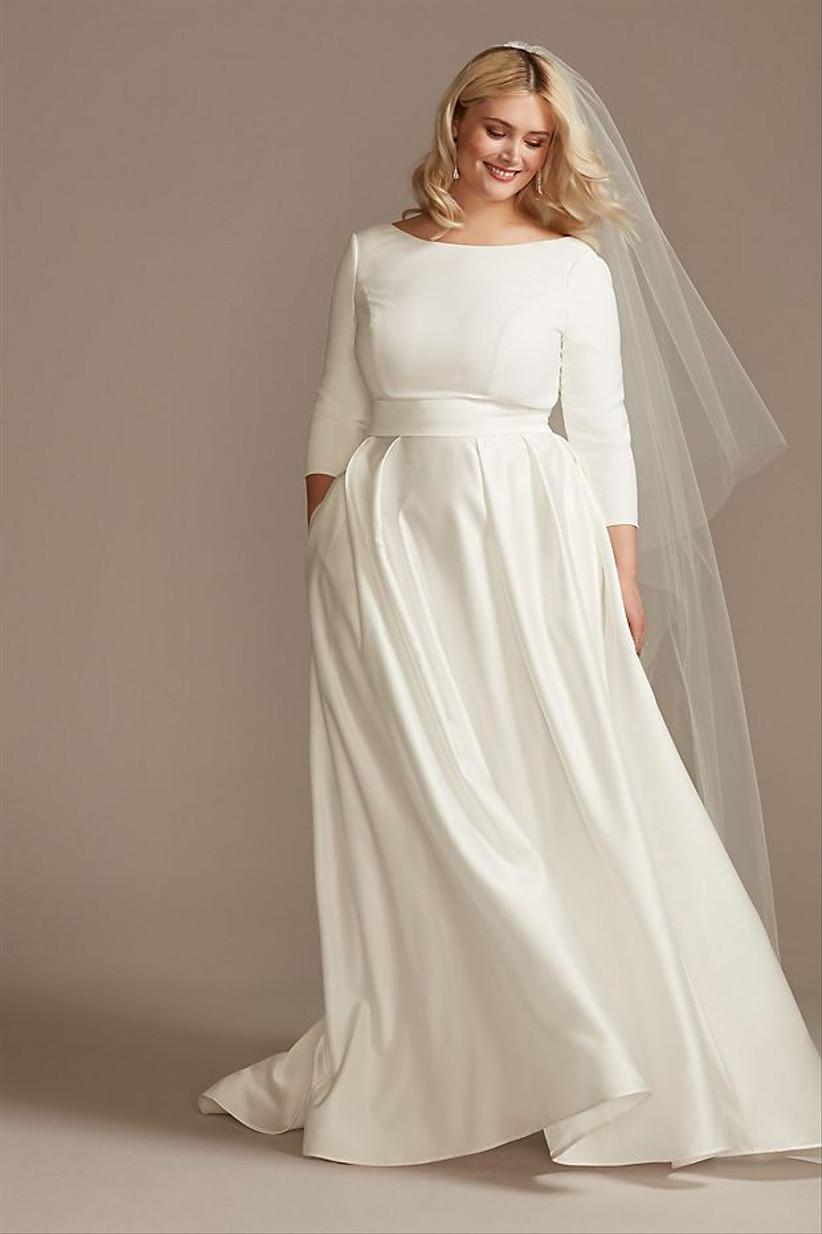 3/4 sleeve courthouse wedding dress