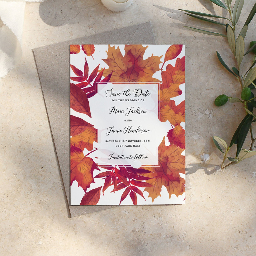 fall save the dates leaves