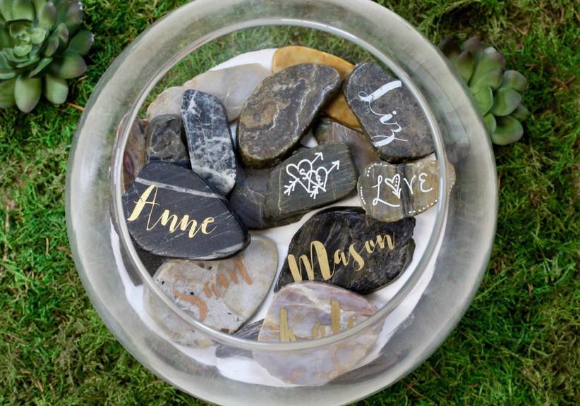 Wishing stones unique wedding book alternative in a glass jar