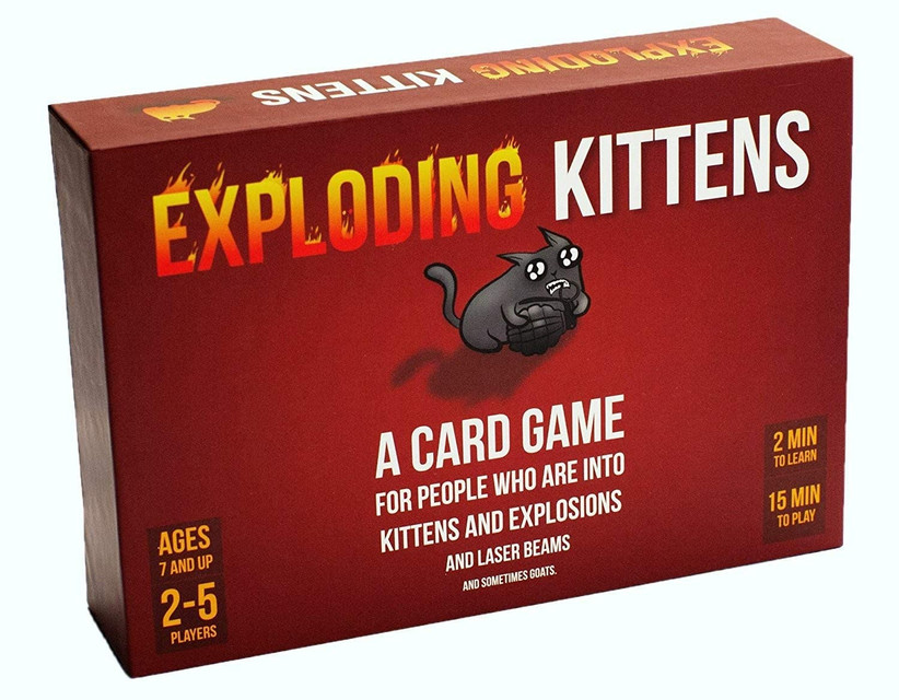Red Exploding Kitten card game box with illustration of cute kitten holding a grenade