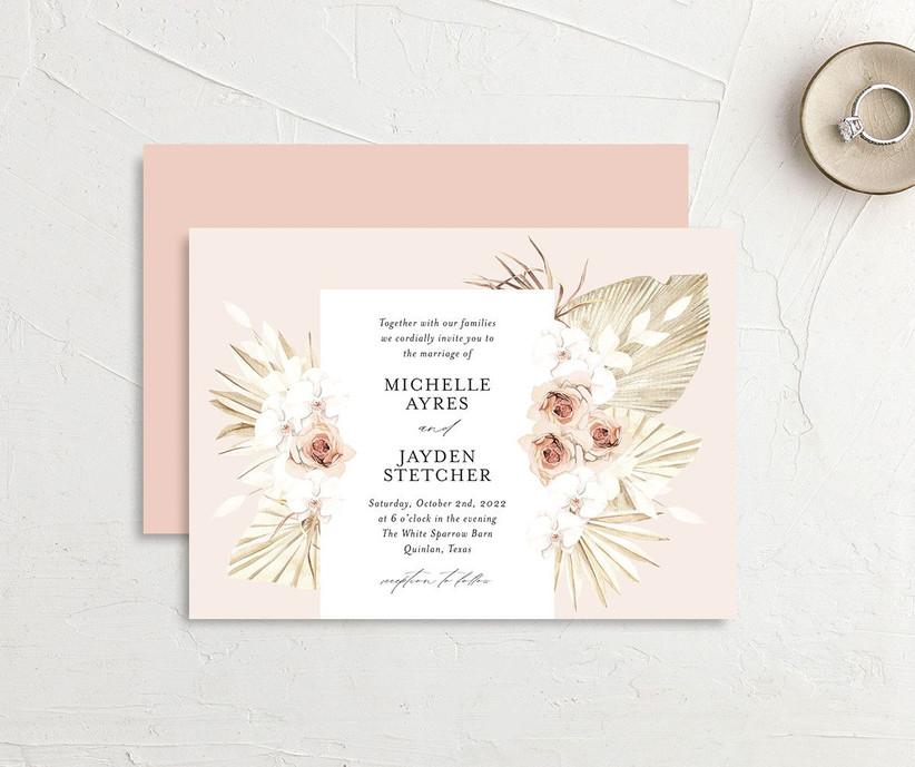 Blush boho floral affordable wedding invitation