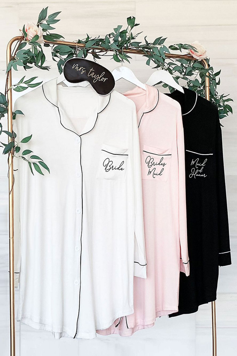 Bridal party sleep shirts for girls' night in maid of honor proposal