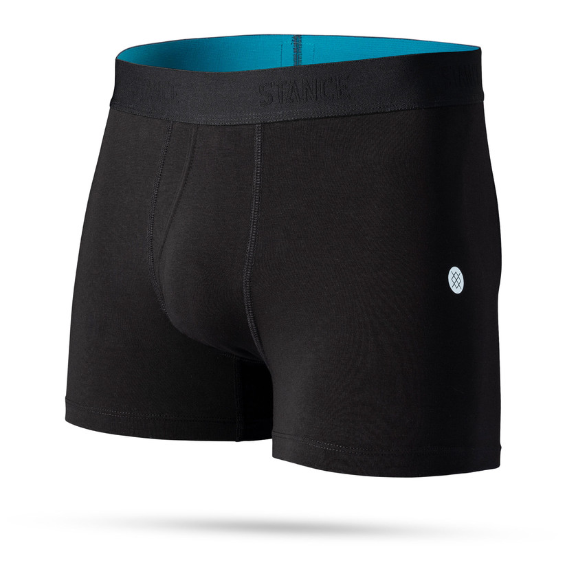Stance black boxer briefs with subtle brand name on waistband and blue interior