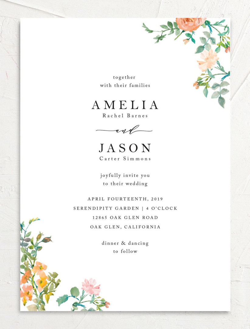 colorful spring wedding invitations with orange and pink watercolor flowers