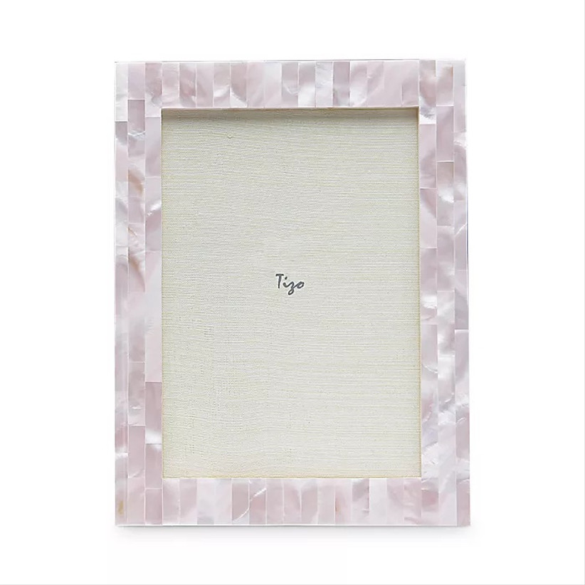 tizo mother of pearl pink photo frame for 12th year wedding anniversary gift