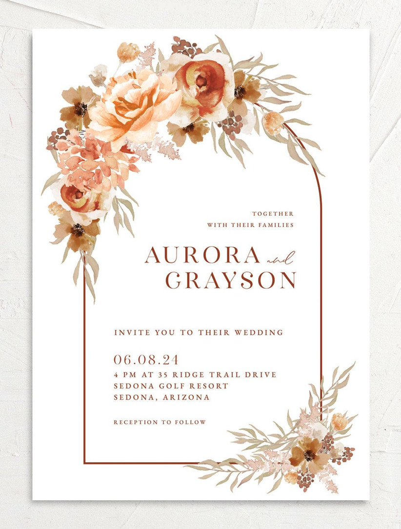 boho fall wedding invitation with orange and brown watercolor flower border