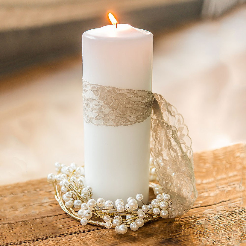 Engagement party centerpiece pillar candle wrapped in pearl garland