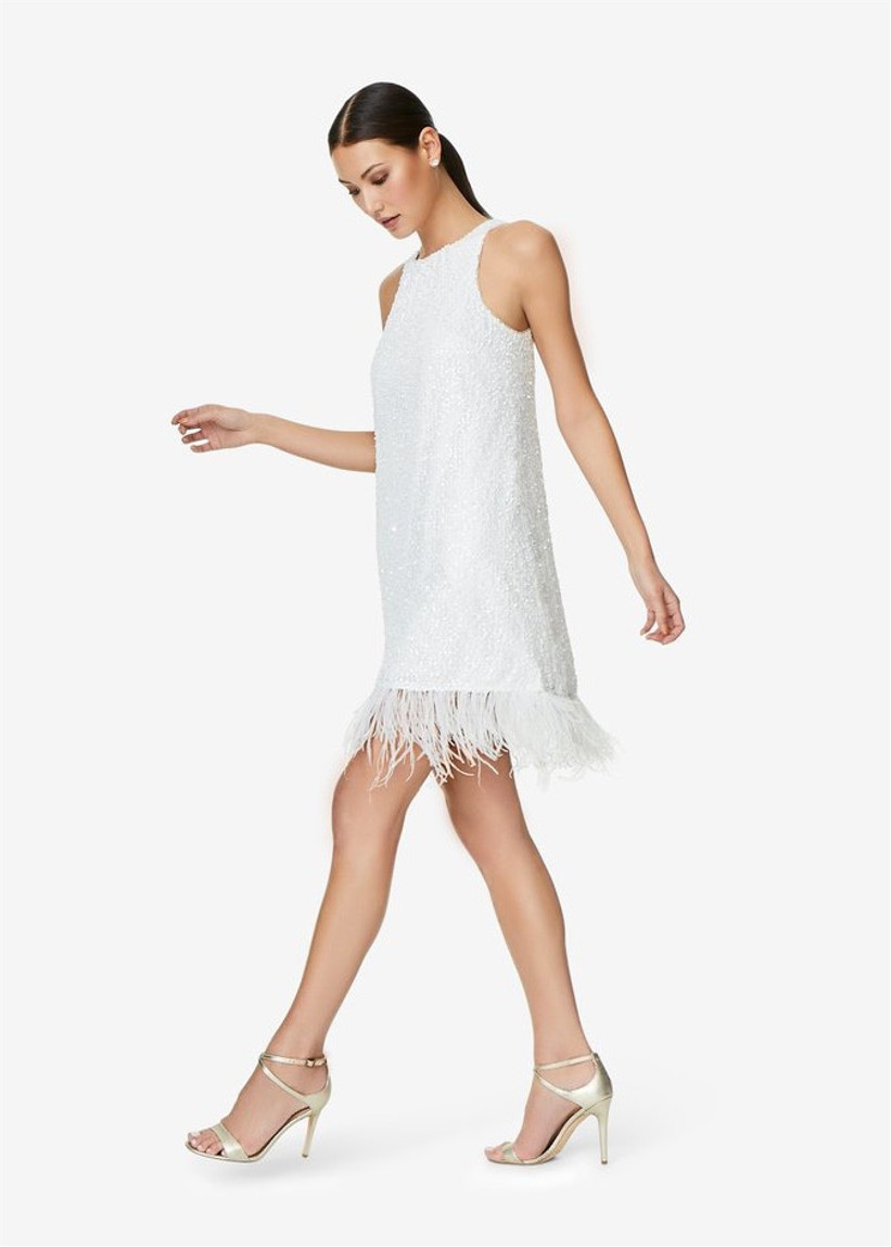 whimsical bachelorette party dress short white mini dress with feather hemline