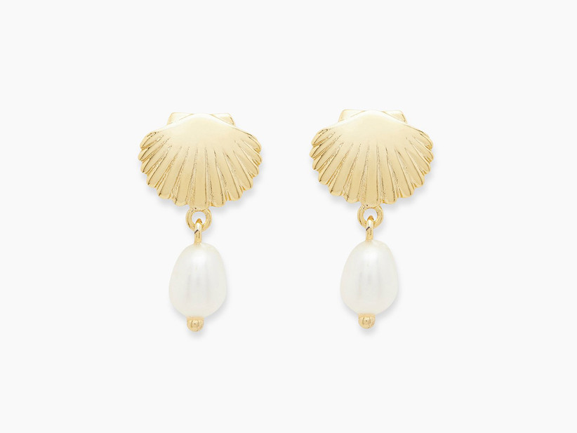 Gold seashell pearl drop bridesmaid earrings