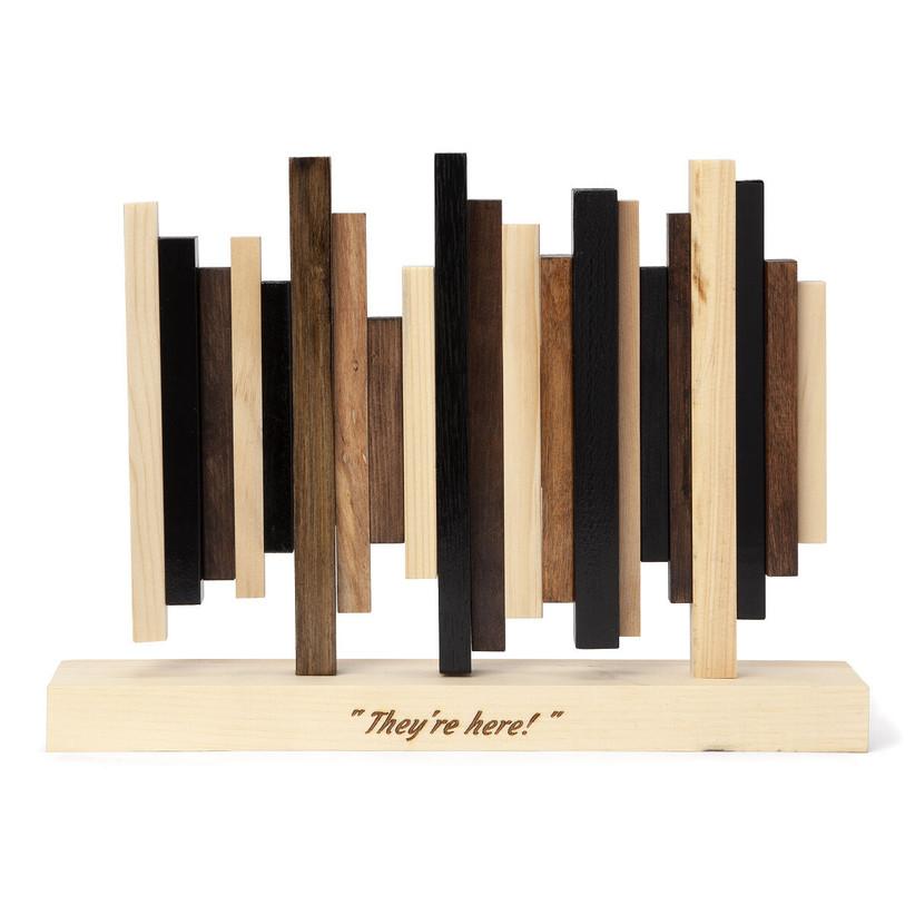 Wooden sound wave sculpture of movie quote anniversary gift idea for boyfriend