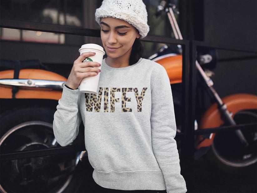 leopard bride wifey sweatshirt