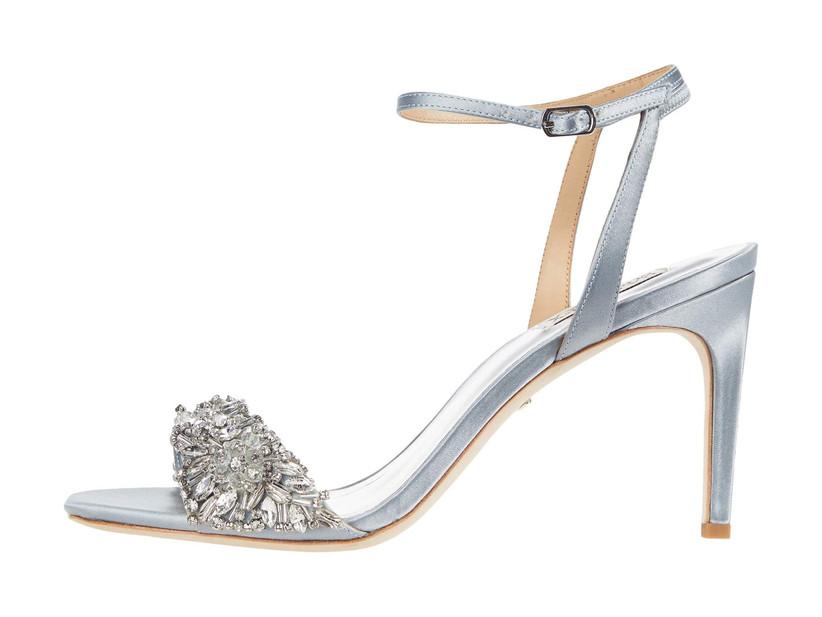 open toe blue wedding shoe with stiletto heel and beaded rhinestone strap