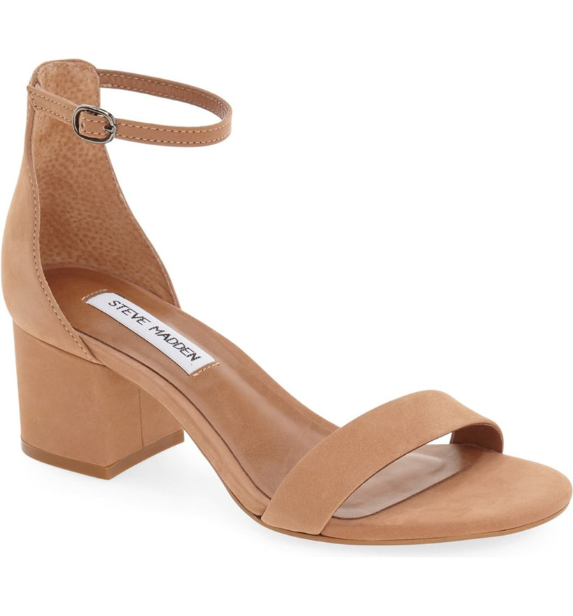 Wedding Guest Shoes tan suede mini heels