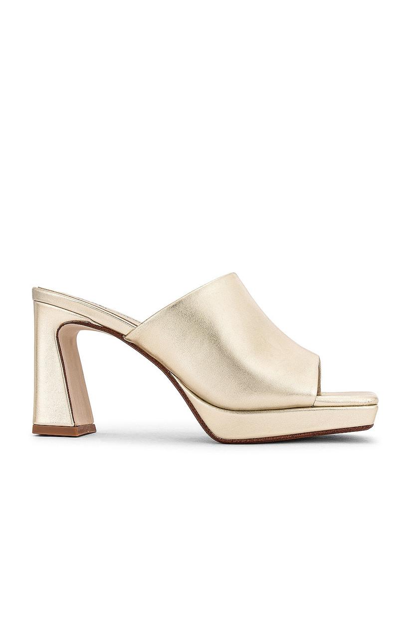 retro gold open-toe mule heel