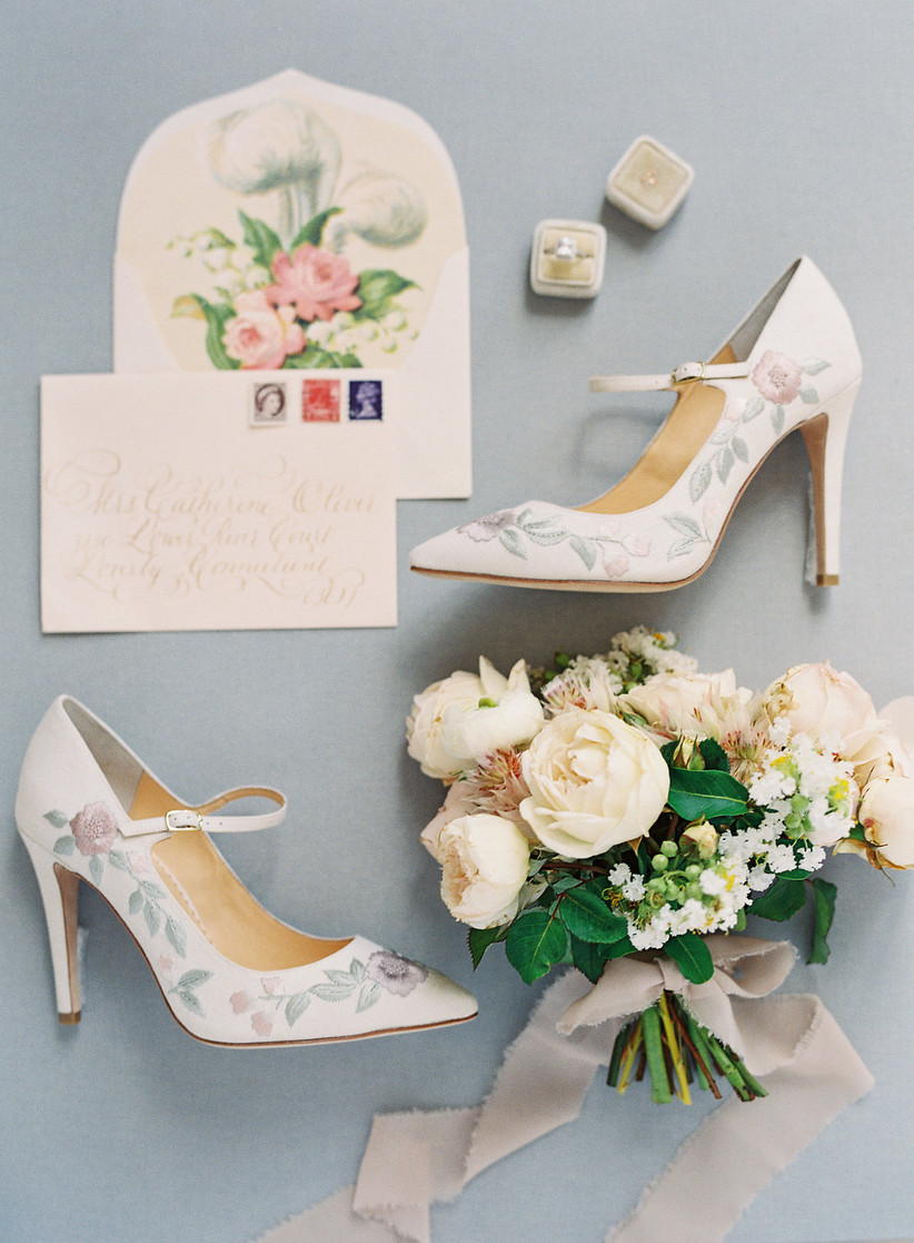 spring wedding details bouquet and embroidered shoes Bella Belle high heels