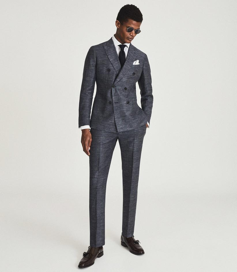 Lightweight three-piece dark gray summer wedding suit