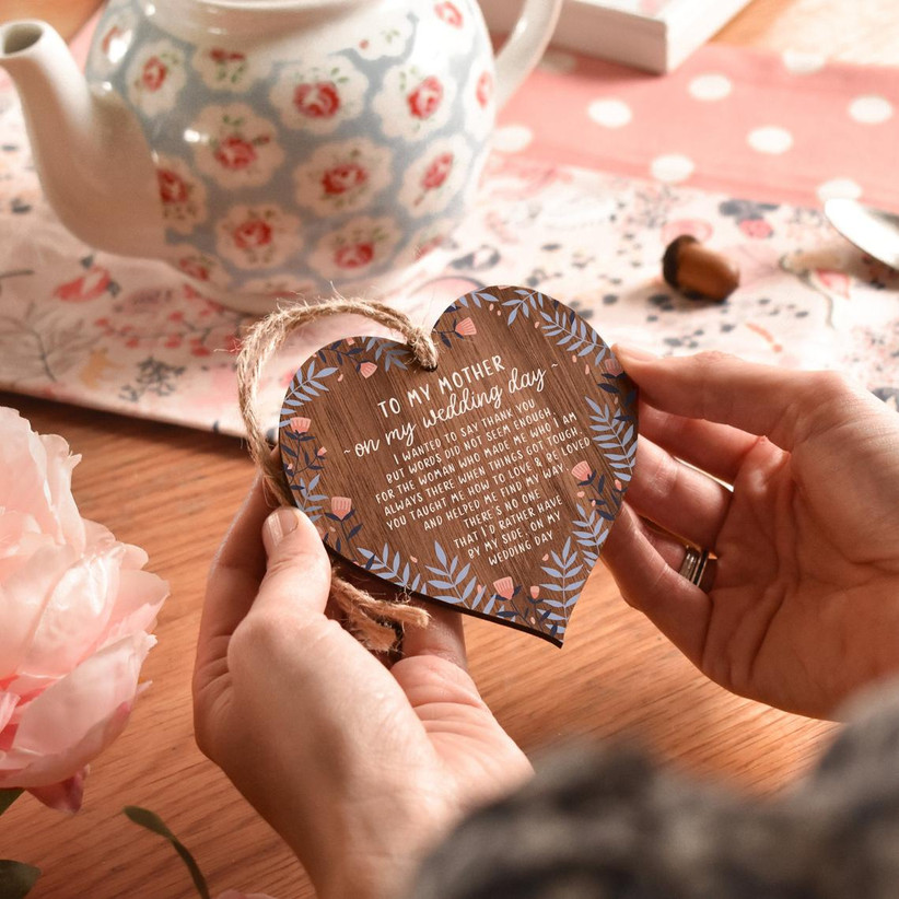 To My Mother on My Wedding Day heart-shaped wooden ornament with sweet poem