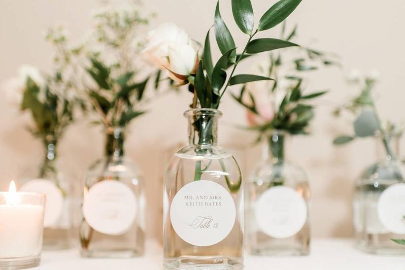 glass bottle wedding escort cards