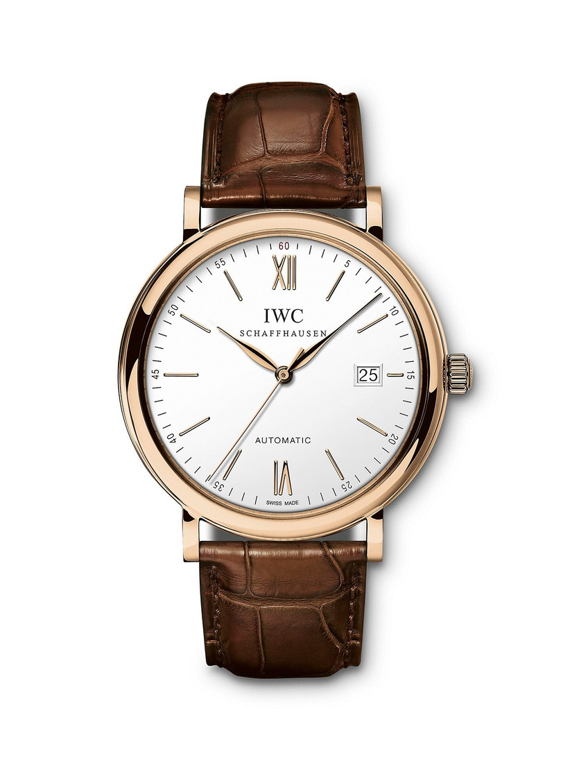 Classic IWC engagement watch with leather strap and gold bezel