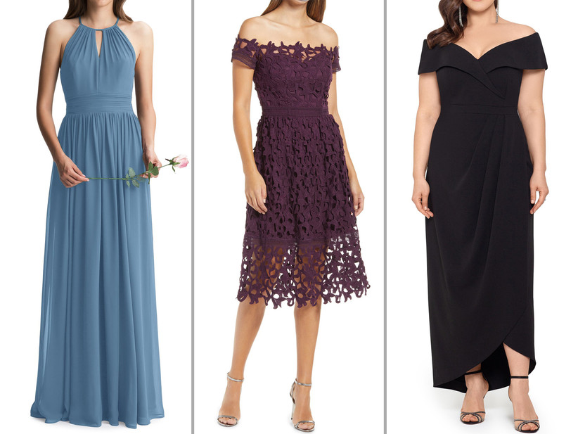 Collage of bridesmaid dresses left to right: slate blue keyhole maxi, purple fit and flare midi with lace overlay, black midaxi gown