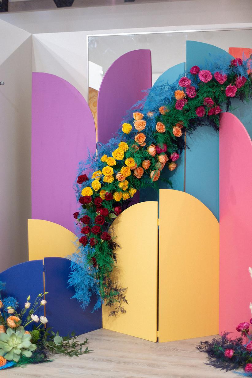 colorful wedding ceremony backdrop 90s wedding colors 2021 wedding color trends