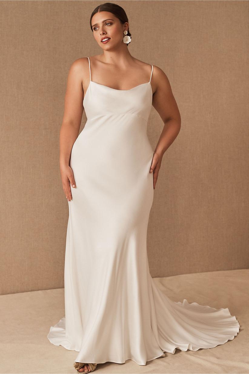 satin spaghetti strap courthouse wedding dress