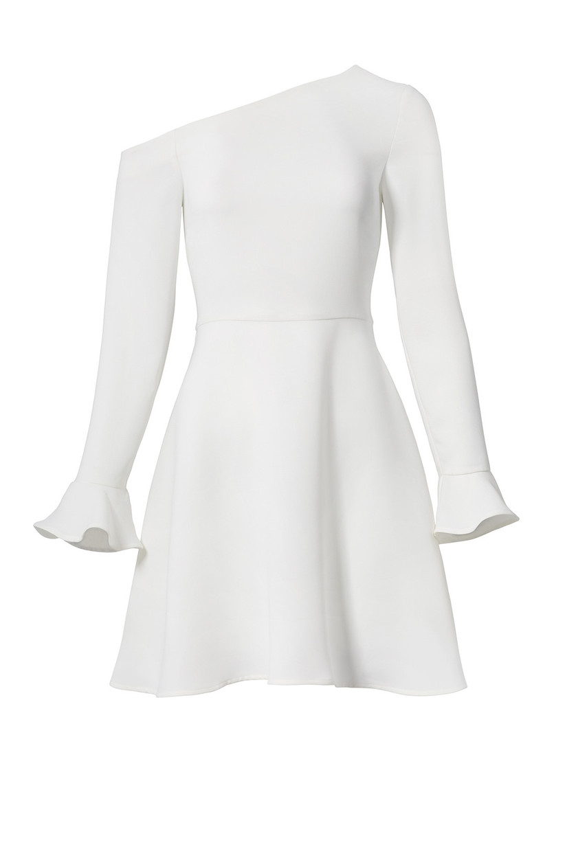 one-shoulder engagement party dress with long sleeves and bell cuffs