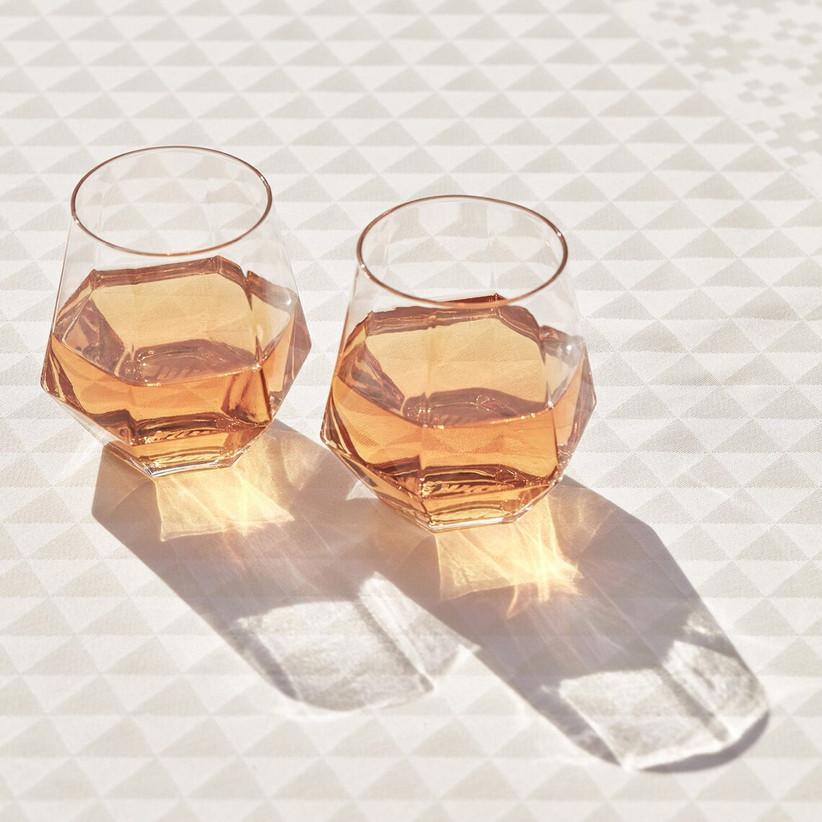 10 year anniversary gift diamond-shaped geometric stemless wine glasses