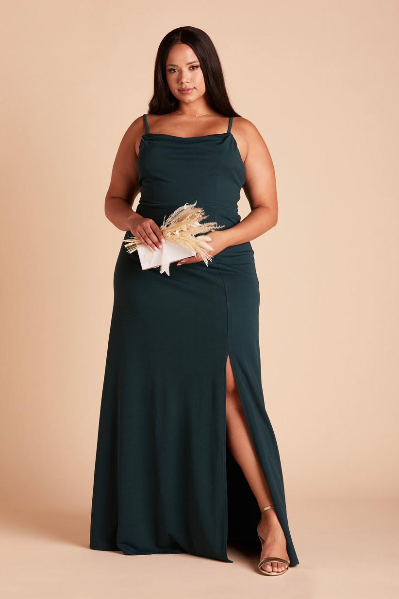 Dark emerald crepe maxi dress formal winter dress for wedding guest