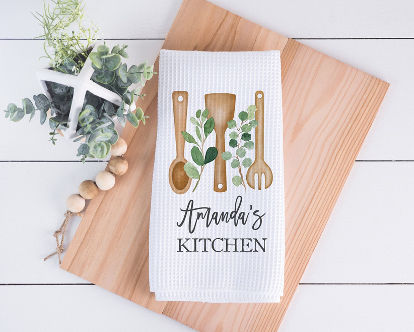 Personalized illustrated dish towel gift for daughter-in-law