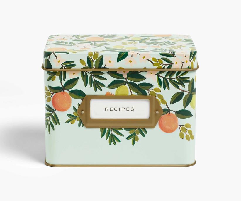 Floral and citrus recipe tin stepmom gift